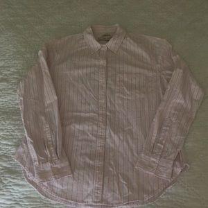 Pink, white & blue vertical strip A & F shirt 👔